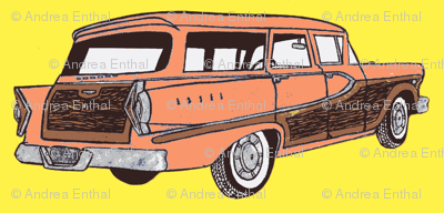 Sunset Coral 1958 Edsel Bermuda on yellow background