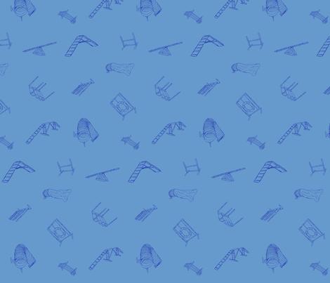 Dog Agility Equipment - blue fabric by rusticcorgi on Spoonflower - custom fabric