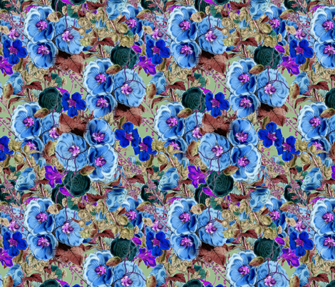 Emma Cyan fabric by dolphinandcondor on Spoonflower - custom fabric