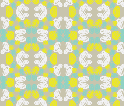 Spiral Butterfly in Cool Grey fabric by bluenini on Spoonflower - custom fabric