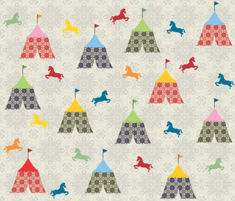 circus and horses fabric by shiny on Spoonflower - custom fabric