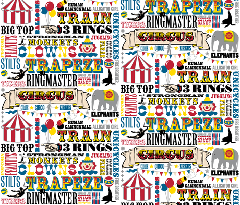 At the Circus || kids nursery children baby western typography animals vintage whimsical clown big top fabric by pennycandy on Spoonflower - custom fabric