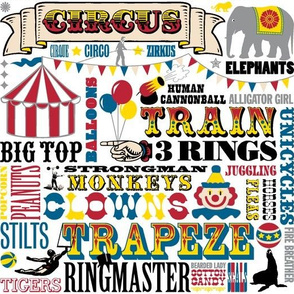At the Circus || kids nursery children baby western typography animals vintage whimsical clown big top