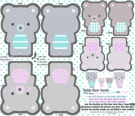Teddy Bear plushie family fabric by katarina on Spoonflower - custom fabric