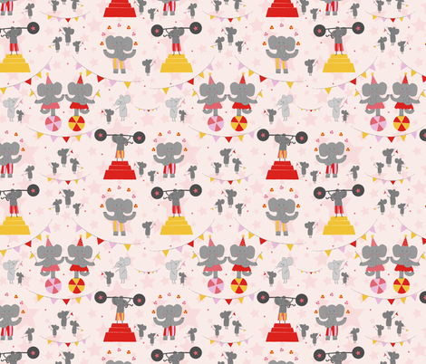 Trumpet and Squeak Circus fabric by mondaland on Spoonflower - custom fabric