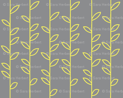 Vines in Grey and Yellow