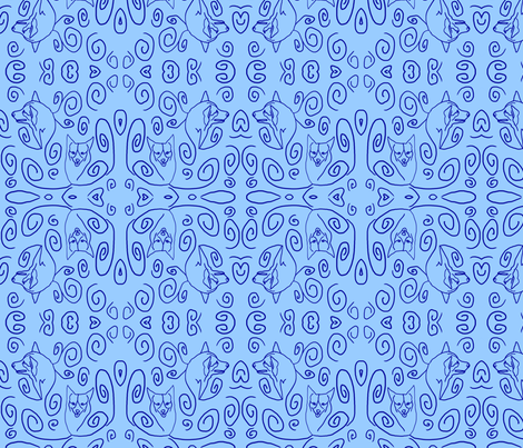 Whimsical Pembroke outlines fabric by rusticcorgi on Spoonflower - custom fabric