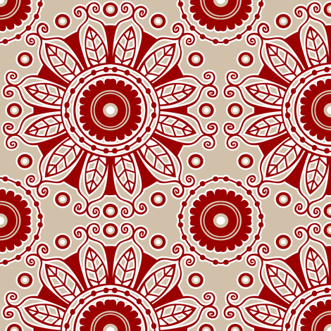 Red Flowers fabric by tessiegirldesigns on Spoonflower - custom fabric