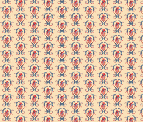 small heart flourish fabric by mome_rath_garden on Spoonflower - custom fabric
