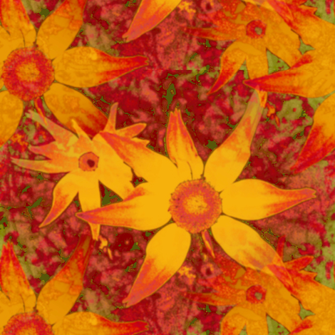 Tequila Sunrise In The Garden fabric by donna_kallner on Spoonflower - custom fabric