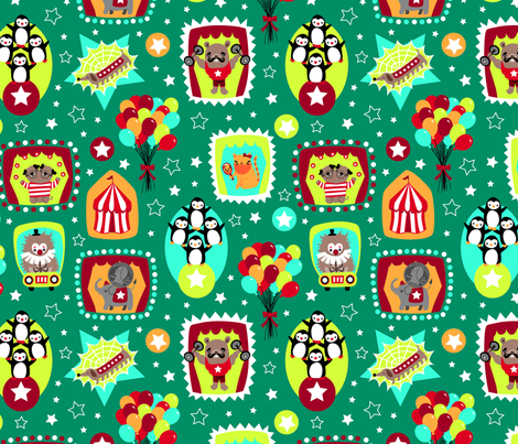 A Circus Sideshow Act fabric by my_zoetrope on Spoonflower - custom fabric
