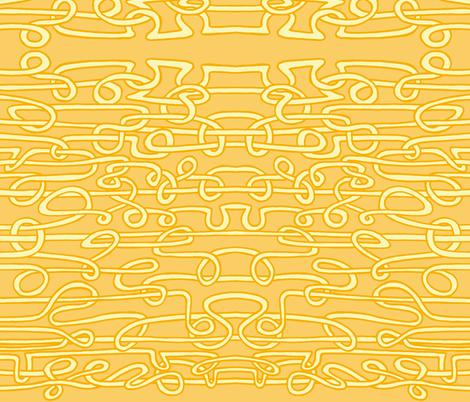 spaghetti threads golden 3 colour fabric by littlemissquarter on Spoonflower - custom fabric