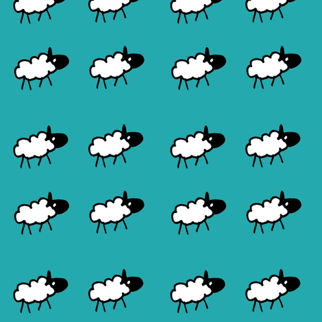 sheeps teal background fabric by littlemissquarter on Spoonflower - custom fabric