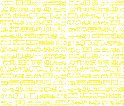 yellow trains fabric by littlemissquarter on Spoonflower - custom fabric
