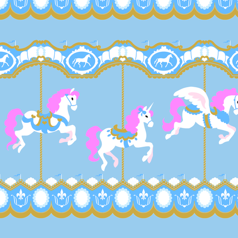 Carousel on Blue fabric by tenderlovingclaire on Spoonflower - custom fabric