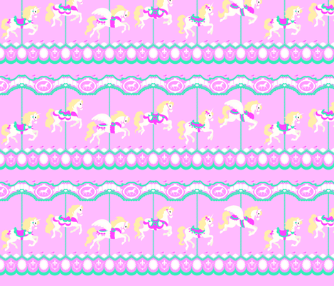 Carousel in Pink fabric by tenderlovingclaire on Spoonflower - custom fabric