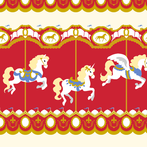 Carousel in Red fabric by tenderlovingclaire on Spoonflower - custom fabric