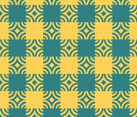 Golden Sea Serpent Ripple Plaid fabric by pond_ripple on Spoonflower - custom fabric