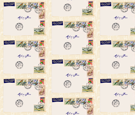 French Postage basic repeat fabric by karenharveycox on Spoonflower - custom fabric