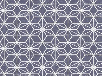 Hemp leaf pattern pearls on denim gray by Su_G