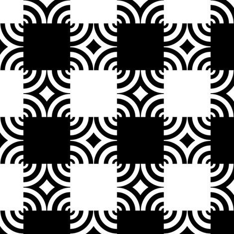Black & White Ripple Plaid fabric by pond_ripple on Spoonflower - custom fabric