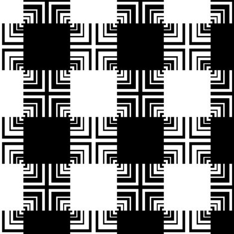 Black & White Square Ripple Plaid fabric by pond_ripple on Spoonflower - custom fabric