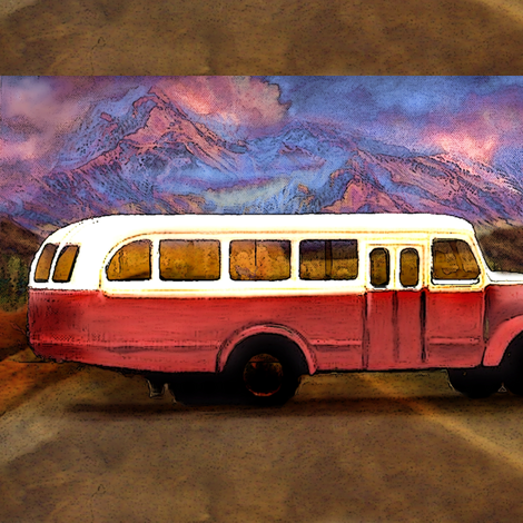 old_volvo_scania_bus_vintage_with_mountains_and_foothill fabric by vinkeli on Spoonflower - custom fabric