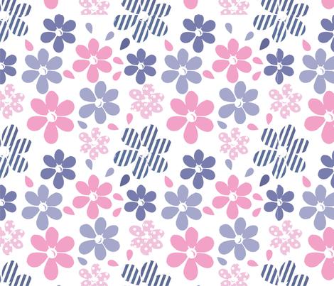 Lazy Daisy Print fabric by rui_rui on Spoonflower - custom fabric