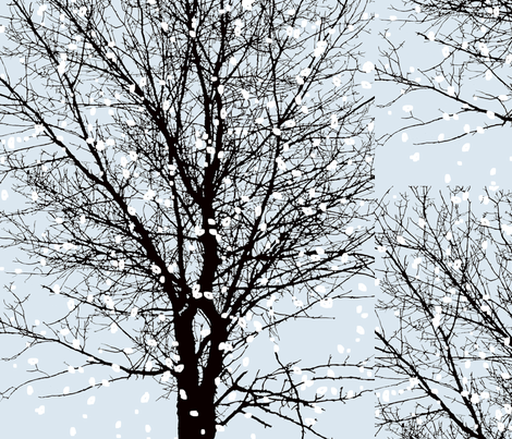 Tree Face with snow-ed fabric by mur on Spoonflower - custom fabric