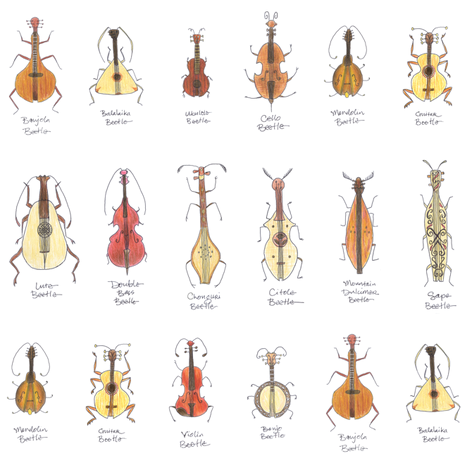 stringed beetles small fabric by weavingmajor on Spoonflower - custom fabric