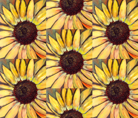 Painting of a Sunflower fabric by dogdaze_ on Spoonflower - custom fabric