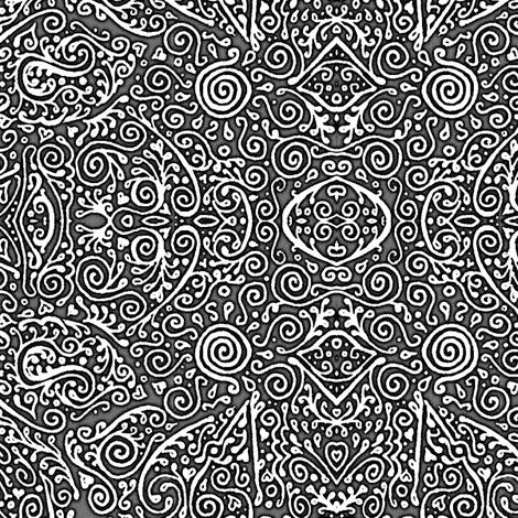 bridal mendhi - black and white fabric by weavingmajor on Spoonflower - custom fabric