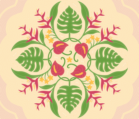 Hawaiian Quilt Circle of Flora fabric by jgreenwalt on Spoonflower - custom fabric