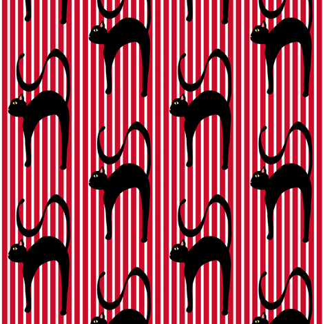 Blackie Norton the Black cat fabric by missyq on Spoonflower - custom fabric