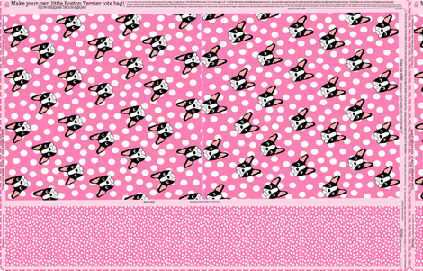 Pink Boston Terrier Tote Bag fabric by missyq on Spoonflower - custom fabric