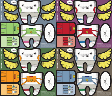 Toothy the Tooth Fairy Plushie: Four Up fabric by sammyk on Spoonflower - custom fabric