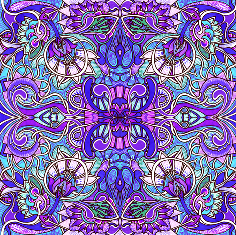 Broader Victorian Windows (blue/purple) fabric by edsel2084 on Spoonflower - custom fabric