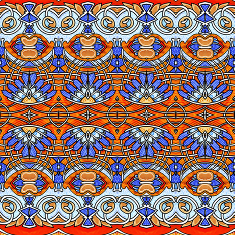 Little Orange Blue Feather stripe fabric by edsel2084 on Spoonflower - custom fabric