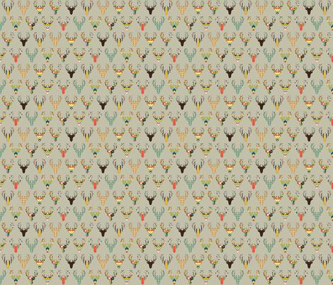 retro deer head stone tiny fabric by scrummy on Spoonflower - custom fabric