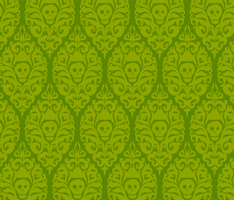 Spooky Damask - Ghoulishly Green fabric by pattysloniger on Spoonflower - custom fabric