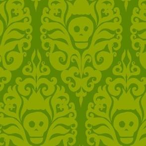 Spooky Damask - Ghoulishly Green