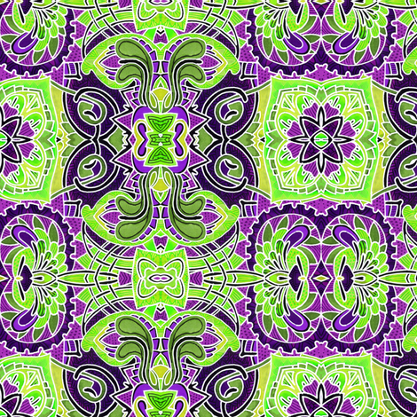 Cheater Stained Glass (green/purple) fabric by edsel2084 on Spoonflower - custom fabric