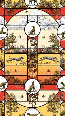 Autumn Greyhound Stained Glass