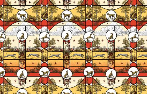Autumn Greyhound Stained Glass fabric by artbyjanewalker on Spoonflower - custom fabric