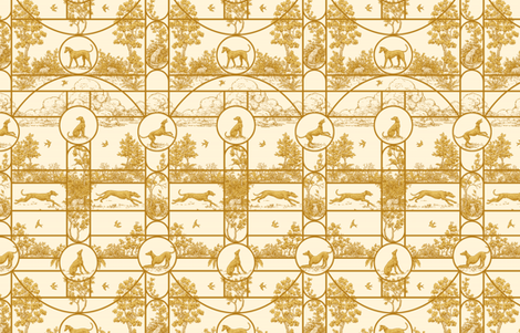 Greyhound Seasons, Cream and Gold Colors, ©2011 by Jane Walker fabric by artbyjanewalker on Spoonflower - custom fabric