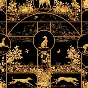 Autumn Black and Gold Medium, Toile Greyhounds