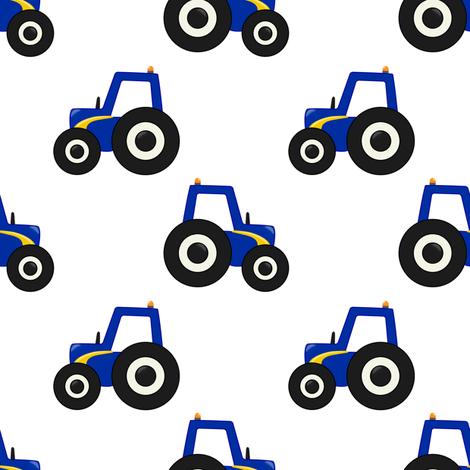 Blue Tractor fabric by zo-ella on Spoonflower - custom fabric