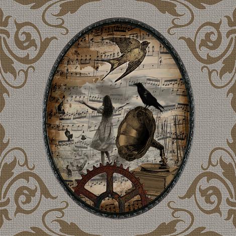 Bird Mad Girl fabric by novelatelier on Spoonflower - custom fabric