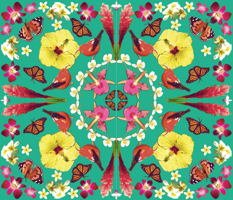 Birds, butterflies and flowers fabric by amypfeiffer on Spoonflower - custom fabric