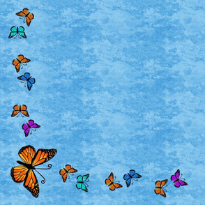Butterfly Cascade on a light blue granite background